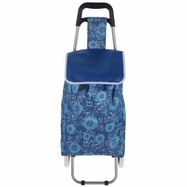 Blauwe boodschappen trolley bloemen 95 cm