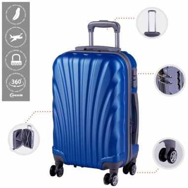 Cabine trolley koffer met zwenkwielen 33 liter blauw