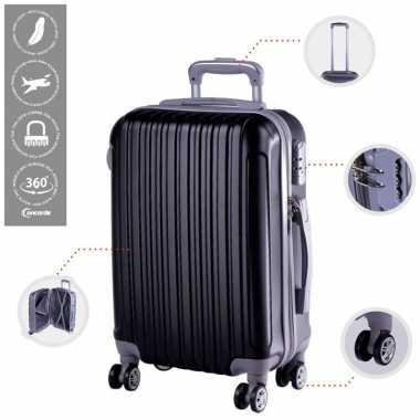 Cabine trolley koffer met zwenkwielen 33 liter zwart