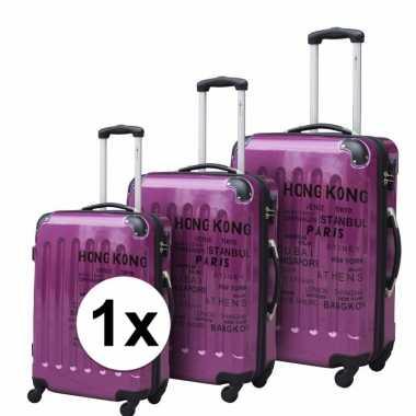 Paarse reiskoffer met tekst 69 cm
