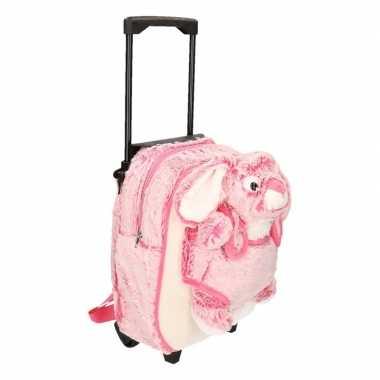 Pluche kindertrolley/rugtasje roze konijn/haas 35 x 25 x 13 cm