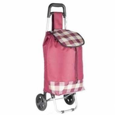Roze boodschappen trolley ruitjes 95 cm