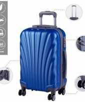 Cabine trolley koffer met zwenkwielen 33 liter blauw 10296516